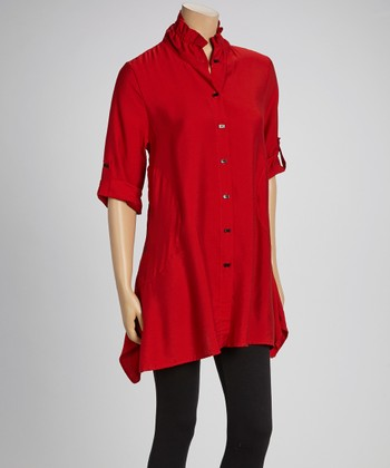 Red & Black Button-Up Tunic