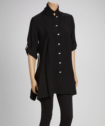 Black & White Button-Up Tunic