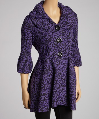 Purple & Black Floral Coat