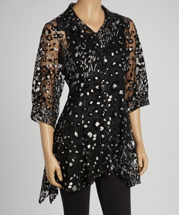 Black & Silver Leopard Layered Button-Up