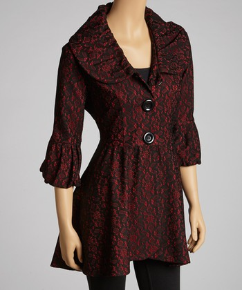Red & Black Lace Hi-Low Coat