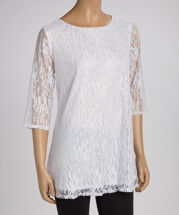 White Lace Three-Quarter Sleeve Top