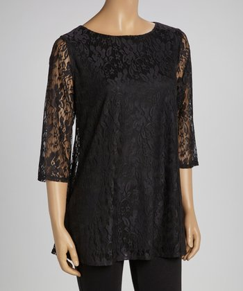 Black Lace Three-Quarter Sleeve Tunic