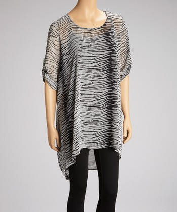 Gray Zebra Sheer Sidetail Tunic - Women & Plus
