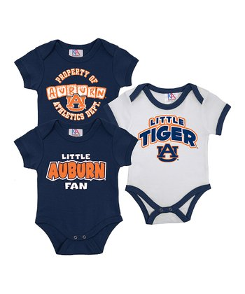 Sports Navy & White Auburn Short-Sleeve Bodysuit Set - Infant
