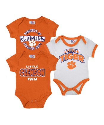 Orange & White Clemson Short-Sleeve Bodysuit Set - Infant