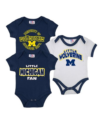 Sports Navy & White Michigan Short-Sleeve Bodysuit Set - Infant
