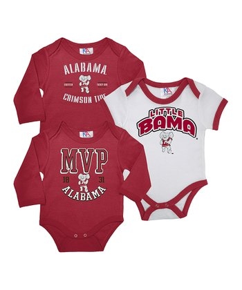 Crimson & White Alabama Long-Sleeve Bodysuit Set - Infant