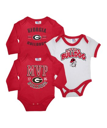 & White Georgia Long-Sleeve Bodysuit Set - Infant