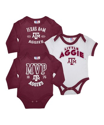 Maroon & White Texas A&M Long-Sleeve Bodysuit Set - Infant