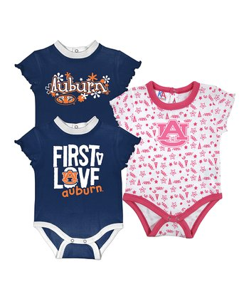 Sports Navy & Deep Pink Auburn Short-Sleeve Bodysuit Set - Infant