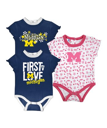 Sports Navy & Deep Pink Michigan Short-Sleeve Bodysuit Set - Infant