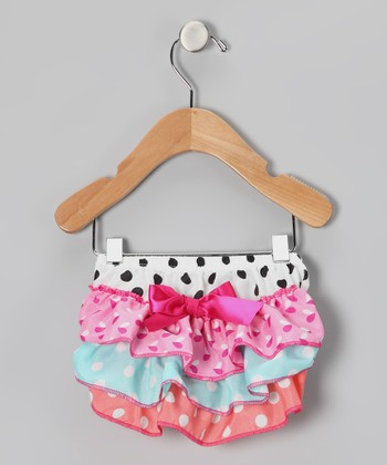 Pink & Aqua Polka Dot Ruffle Diaper Cover - Infant & Toddler