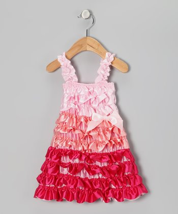 Pink Color Block Satin Ruffle Dress - Infant, Toddler & Girls
