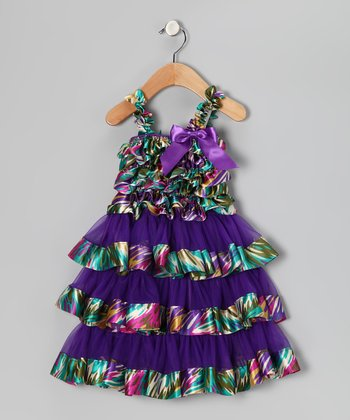 Purple Swirl Ruffle Dress - Infant & Toddler