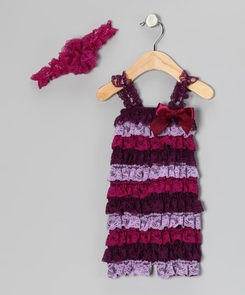 Purple Lace Headband & Ruffle Romper - Toddler