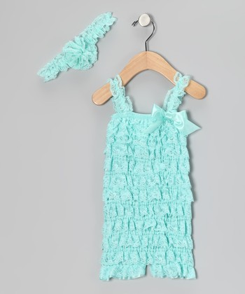 Aqua Lace Headband & Ruffle Romper - Infant & Toddler