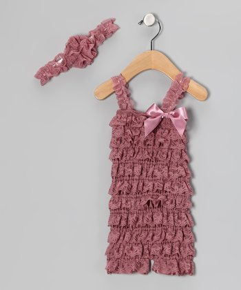 Dusty Rose Lace Headband & Ruffle Romper - Infant & Toddler
