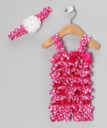 Hot Pink Dot Ruffle Romper & Flower Headband - Infant & Toddler