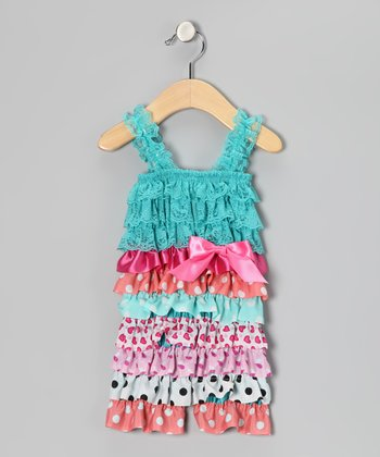 Teal & Fuchsia Bow Ruffle Romper - Infant & Toddler