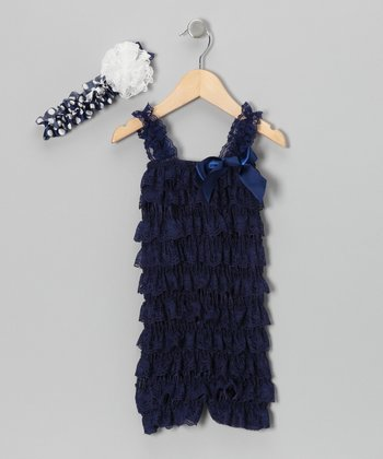 Navy Lace Headband & Ruffle Romper - Infant & Toddler