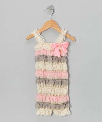 Gray & Pink Lace Ruffle Romper - Infant & Toddler