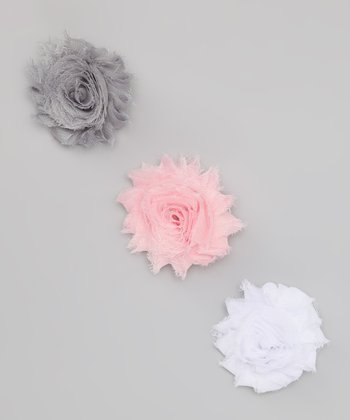 Gray, Pink & White Shabby Rose Clip Set