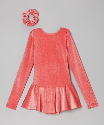 Anemone Glitter Velvet Skating Dress & Hair Tie - Girls