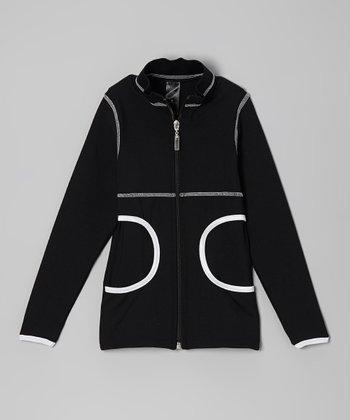 Black & White Cutout Pocket Jacket - Girls