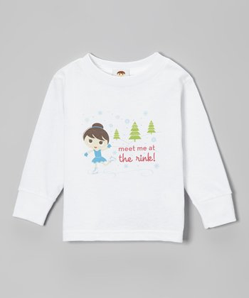 White 'Meet Me At The Rink' Long Sleeve Tee - Toddler & Girls