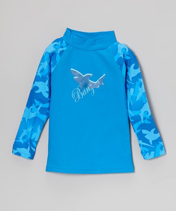 Blue Shark Long-Sleeve Rashguard - Infant, Toddler & Boys