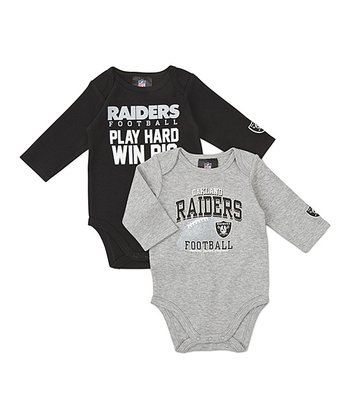 Black & Silver Oakland Raiders Long-Sleeve Bodysuit Set - Infant