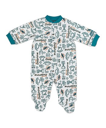 White Miami Dolphins Footie - Infant