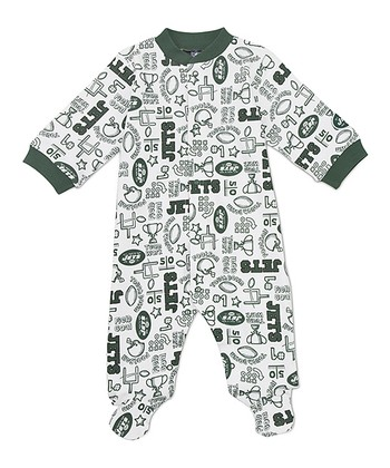 White New York Jets Footie - Infant