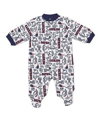 White New England Patriots Footie - Infant