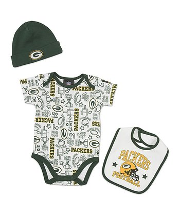 White Green Bay Packers Layette Set - Infant