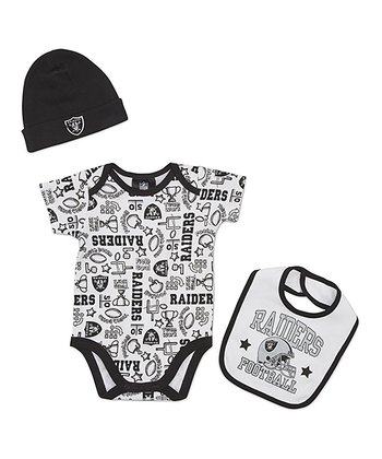 White Oakland Raiders Layette Set - Infant