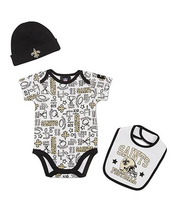 White New Orleans Saints Layette Set - Infant