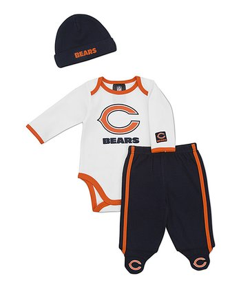White Chicago Bears Footie Pants Set - Infant
