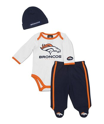 White Chicago Broncos Footie Pants Set - Infant