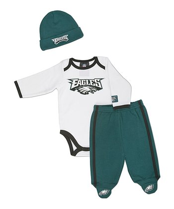 White Philadelphia Eagles Footie Pants Set - Infant