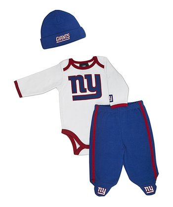 White New York Giants Footie Pants Set - Infant