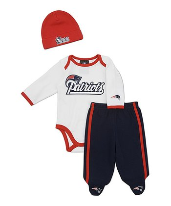 White New England Patriots Footie Pants Set - Infant