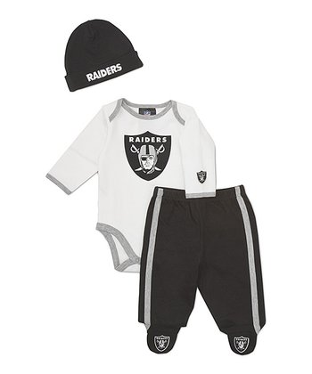 White Oakland Raiders Footie Pants Set - Infant