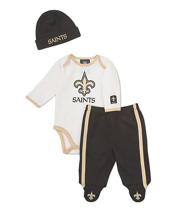 White New Orleans Saints Footie Pants Set - Infant