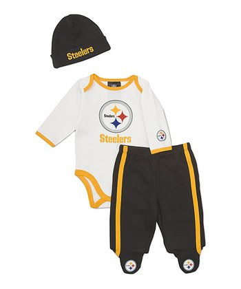 White Pittsburgh Steelers Footie Pants Set - Infant