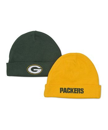 Green & Yellow Green Bay Packers Beanie Set