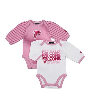 Pink Atlanta Falcons Long-Sleeve Bodysuit Set - Infant