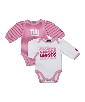 Pink New York Giants Long-Sleeve Bodysuit Set - Infant