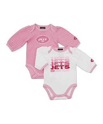 Pink New York Jets Long-Sleeve Bodysuit Set - Infant